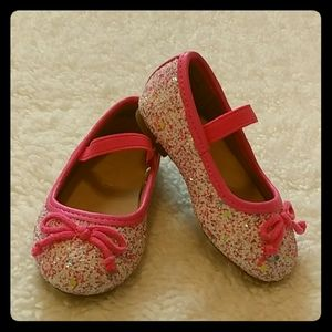Children's Place Pink Sparkly Flat Shoes Size 4